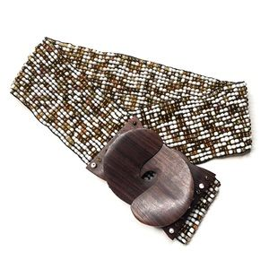 Anthropologie Beaded Wood Belt